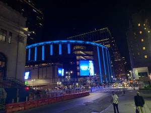 Walking past Madison Square Garden en route to the hotel